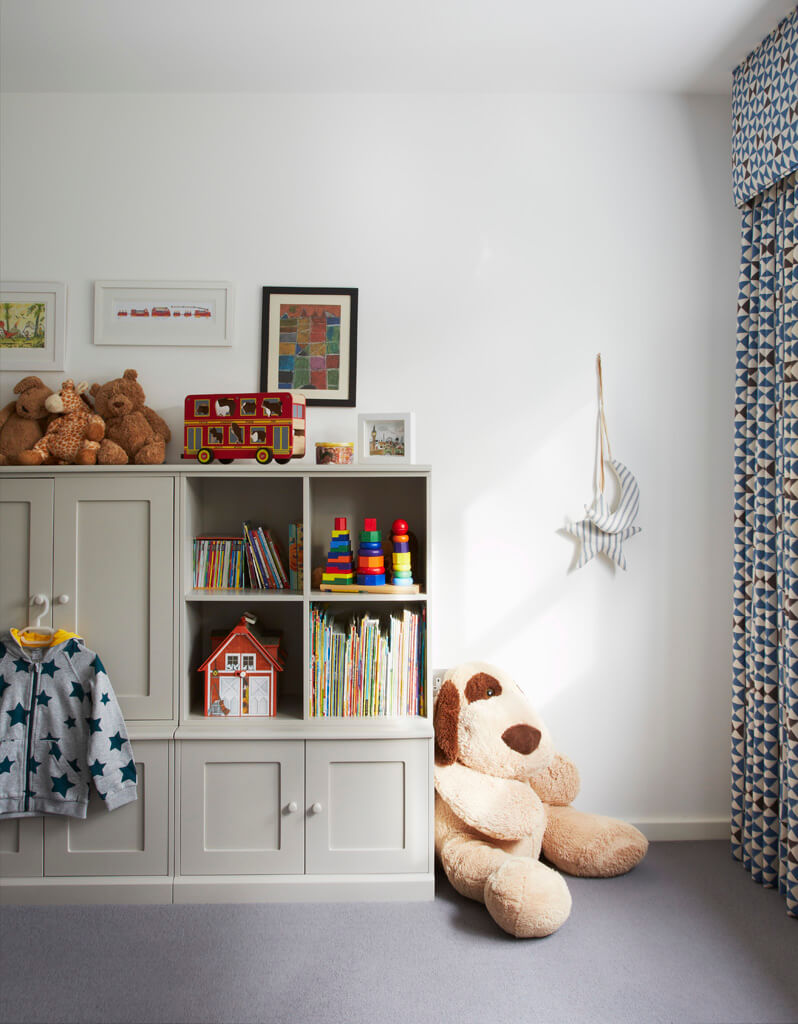 A feminine and elegant home with neutral tones broken up by vivid pops of colour and dazzling statement pieces. The whimsical child's room allowed for evolving style with carefully considered storage solutions, beautifully finished floor length curtains and personalised pieces forming a tasteful room that can develop to withstand the test of time.